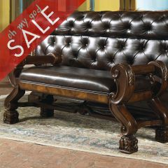 B543-09  Leather Bed Bench