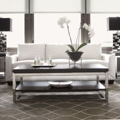 Black Ice  Sapphire White Leather Sofa