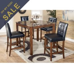 D158-233  Dining Set (1 Table + 4 Chairs) ~Counter Height~