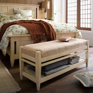64149-Linen Modern Country  Storage Bench