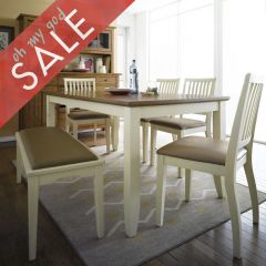 D644-6-Cream  Dining Set (1 Table + 4 Chairs + 1 Bench)