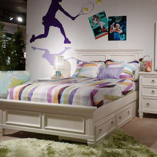 B572  Twin Panel Bed w/ Drawers (침대 / No 서랍) (매트 규격: 97cmx 193cm)