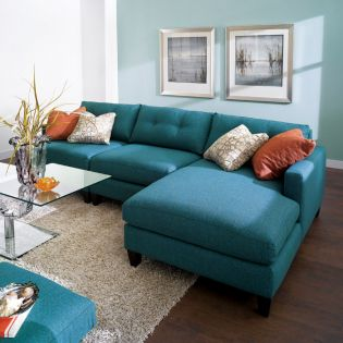 005 Mia-Blue  Sofa w/ Chaise