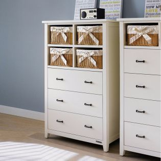 BS-3900-4   4 Rattan Basket + 3 Drawer Chest