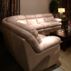 1112  Leather Sectional Sofa ~Blue Steel~