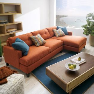 005 Mia-Orange  Sofa w/ Chaise