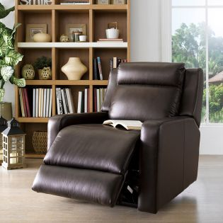 E322  Brown Leather Recliner Chair