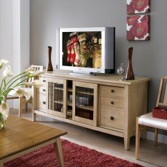 64423-Linen Modern Country  Entertainment Console