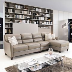 8586C-Chaise  Leather Sofa (3 Pcs)
