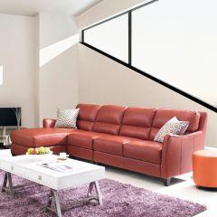 8586C-Papaya-Chaise  Leather Sofa (3 Pcs)