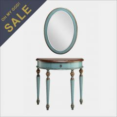 12910 Blue  Demilune Table and Mirror