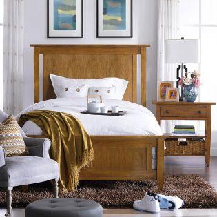 Modern Country-Straw  Panel Single Bed (침대) (매트 규격: 110cmx 200cm)