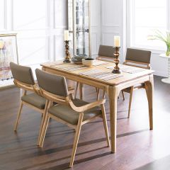 Realoak-4  Dining Set (1 Table + 4 Chairs) ~100% Oak 원목~
