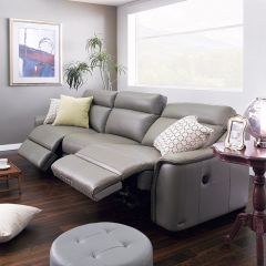 E1069-Grey  Power Leather Recliner Sofa