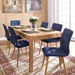 Cope-Blue  Dining Set (1 Table + 6 Chairs)
