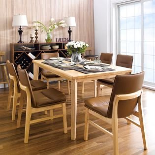Guliver-6C-Brown  Dining Set (1 Table + 6 Chairs)