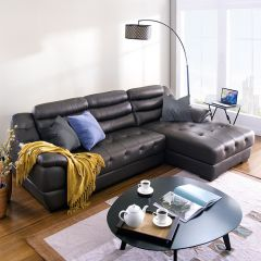 M8001-Brown  Leather Sofa w/ Chaise ~Right or Left 선택가능~ (천연가죽)