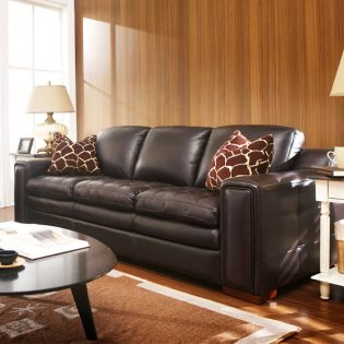 7491-30-Brown  Leather Sofa