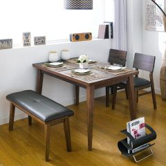 Kathy Wood-4-Walnut  Dining Set (1 Table + 2 Chairs + 1 Bench)