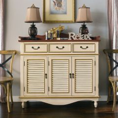 606-Camy-Cream  3-Door Chest