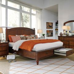 ICB-412-Bch Cambridge   Panel Bed w/ Storage (침대+협탁+화장대)