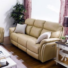 E1309-Camel  Power Leather Recliner Sofa