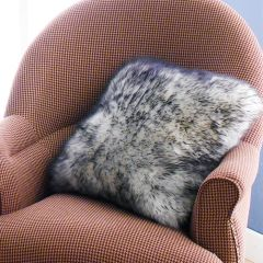 Mary Sheepskin-White/Black  Accent Pillow