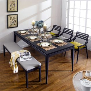 Royce-YG-6  Leather Bench Set (1 Table + 3 Chairs + Bench)  ~Top Quality~