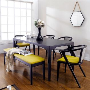 Armani-Black  Leather Bench Set (1 Table + 4 Chairs + Bench)  ~Top Quality~