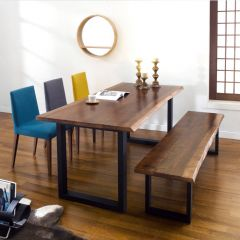 Muse Live Edge  Bench Set (1 Table + 3 Chairs + Bench)  ~Top Quality~