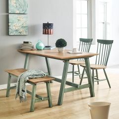 Miamint-4-Natural  Dining Set (1 Table + 2Chairs + 1 Bench)