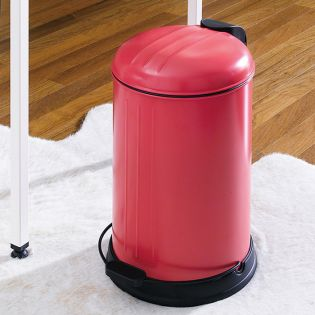 A-10106P-12L-Red  Round Retro Trash Can