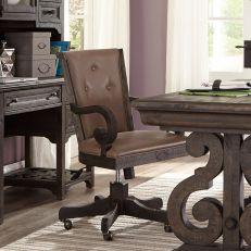 H2491-83  Wood Fully Upholstered Swivel Chair
