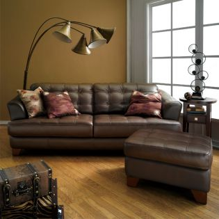 6692-Brown  Leather Ottoman