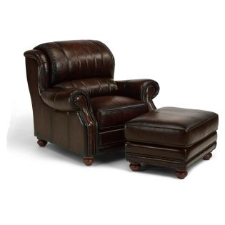 1762-31-Brown  Leather Ottoman
