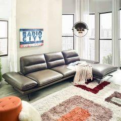10270ML Mocha chaise  Leather Sofa