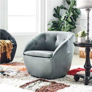 W1621 Grey Leather Swivel Chair