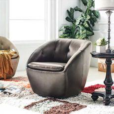 W1621 Walnut Leather Swivel Chair