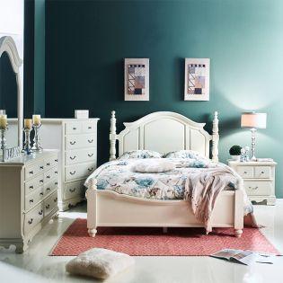 Tori-White Bed Set   Poster Bed (침대+협탁+화장대)