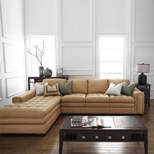 7491-Wheat-Chaise  Leather Sofa -LAF only