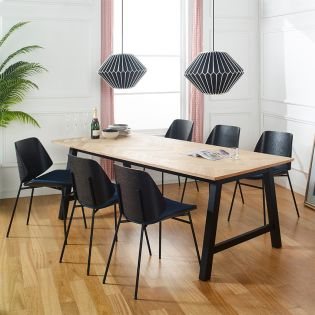 Brighton-6-Black  Dining Set (1 Table + 6 Chair)