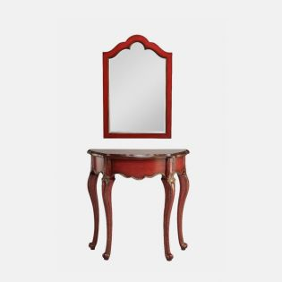 12911 Red  Demilune Table and Mirror