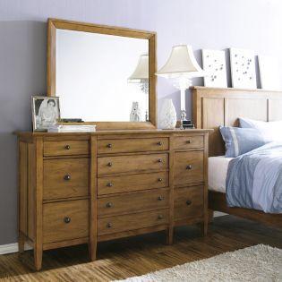 64131-Straw Modern Country  Drawer Dresser + Mirror