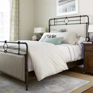 596310B Upholstered  Metal Bed Minimal Special Set (침대+협탁)
