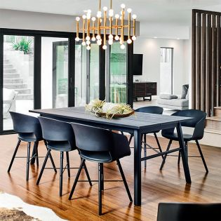 Carver-6CH-Black    Dining Set(1 Table + 6 Chairs)
