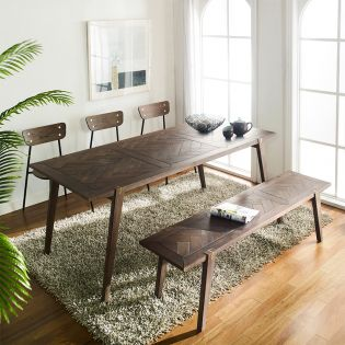 Parquet  Dining Set  (1 Table + 3 Chairs + 1 Bench)