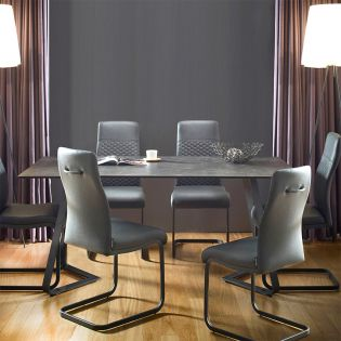 HT90057-6  Ceramic Dining Set  (1 Table + 6 Chairs)