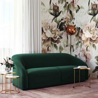 S6458 Yara Pleated Forest Green  Velvet Sofa