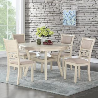 D1701 GIA-4 Cream  Round Dining Set  (1 Table + 4 Chairs)