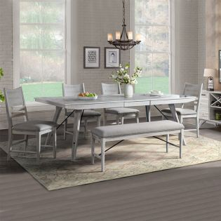 MR-4290  Dining Set  (1 Table + 4 Chairs + 1 Bench)